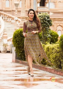 Brown Color Fashion Blossom weight less Georgette Kurtis -  L Size 3009