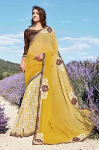 Patch Work Printed Georgette Designer Saree | Yellow