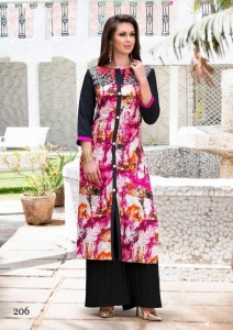 Print & Embroidery Cotton Casual Kurta | Blue Multi