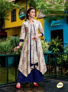 Cotton Rayon Long Casual Designer Kurta | Cream Colour