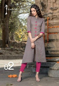 Jaipur Cotton Printed Casual Kurta | Gray Pink Colour