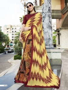 Faux Georgette & Art Silk Border Saree | Mixed Colour