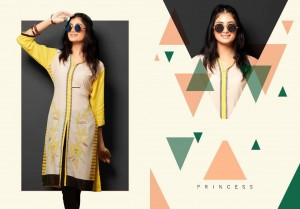 Yellow & Cream Colour Rayon Printed Kurti L-Size