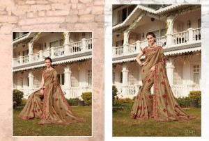 Tussar Silk Floral Printed Casual Saree Sandal Colour