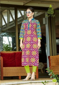 Gray Multi | Lawn Cotton Printed Long Kurta | L-Szie
