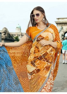 Multi Colored Faux Georgette Traditional Printed Saree 2410