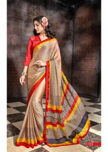 Printed Satin Chiffon Casual Saree | Red Gray Colour