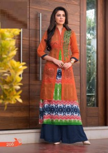 Rayon Cotton & Kora Silk Gold Print Kurta | Orange Multi