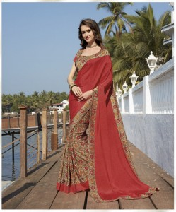 Half n Half Printed Crepe Silk With Designer Border Saree