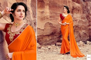 Satin Silk Festival Saree Embroided Blouse | Orange