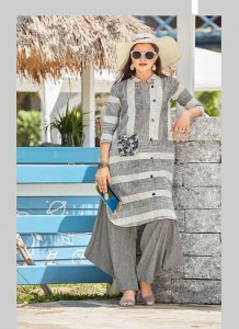 Handloom Cotton Embroidery Long Kurta | White & Gray