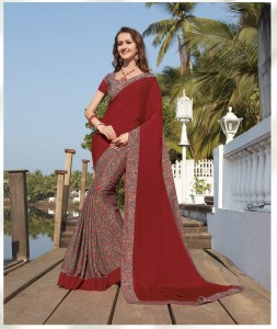 Half n Half Printed Crepe Silk Saree | Maroon Colour