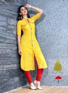 Rayon Printed Long Casual Kurta | Yellow Colour