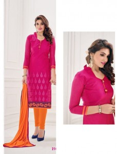 Pink Colour Chanderi Cotton Salwar & Chiffon Dupatta