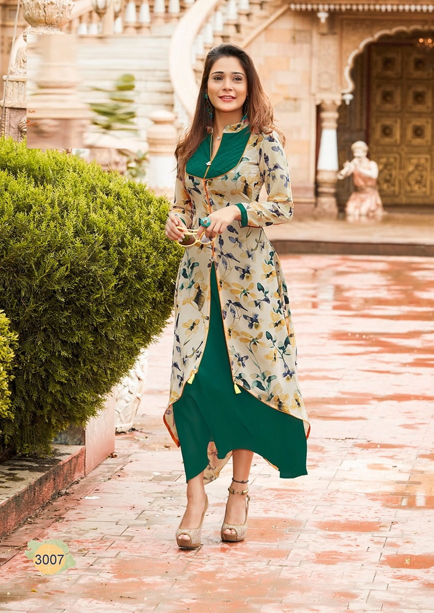 Long Weightless Georgette Casual Kurta | Green White