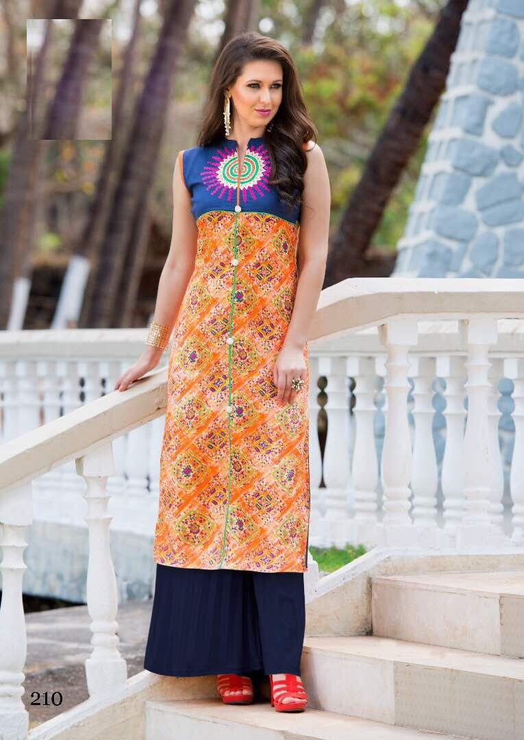 Print & Embroidery Cotton Casual Kurta | Orange Blue