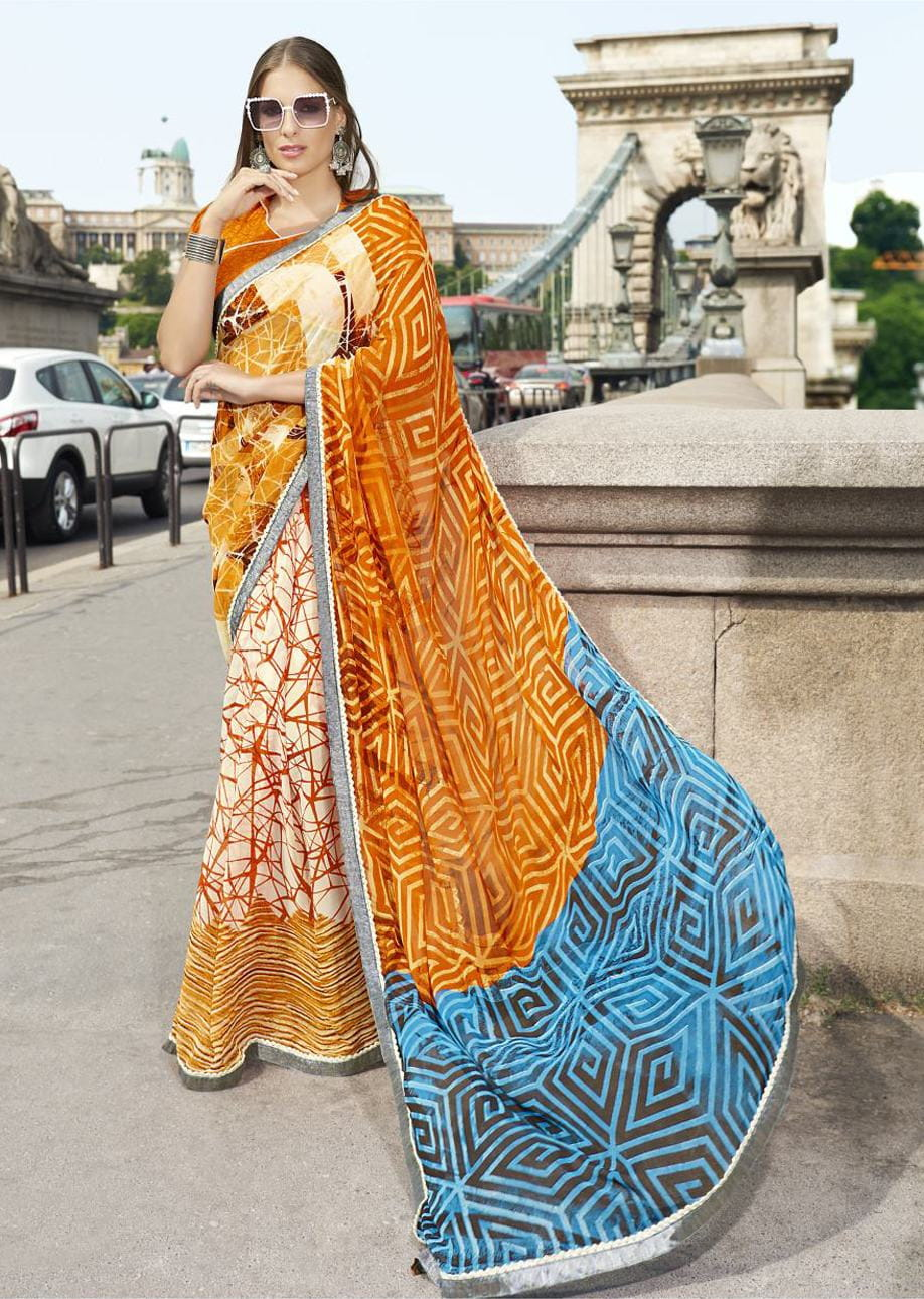 Multi Colour Faux Georgette Traditional Printed Saree