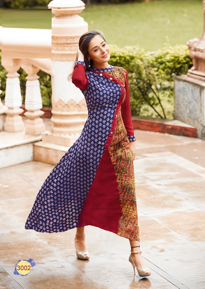 Multi Colour Weightless Georgette Casual Kurta L-Szie