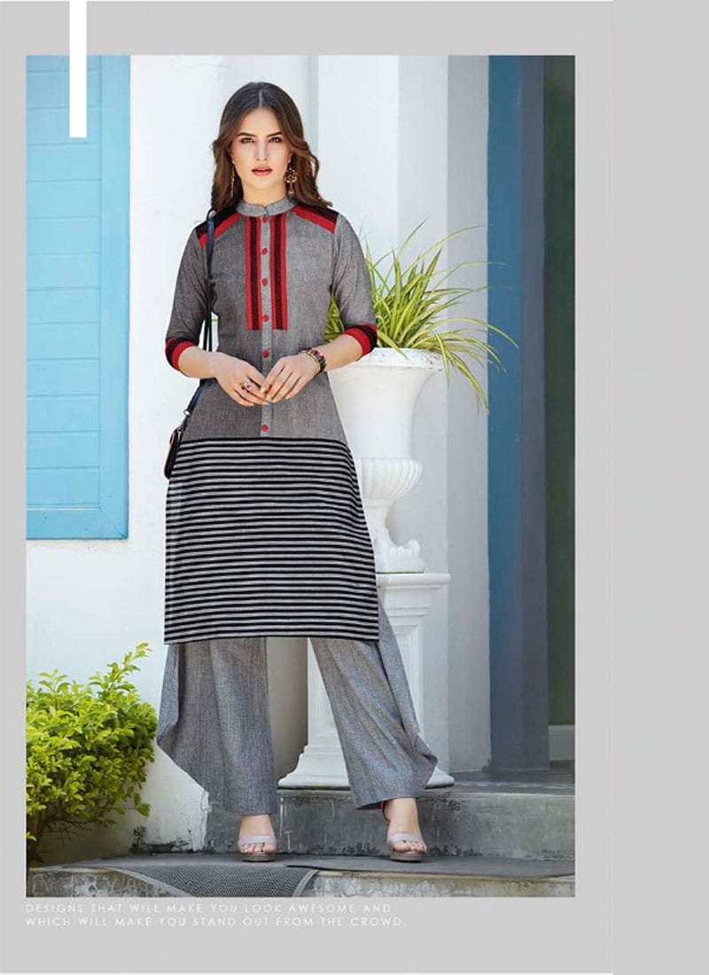 Handloom Cotton Embroidery Long Kurta | Gray Colour