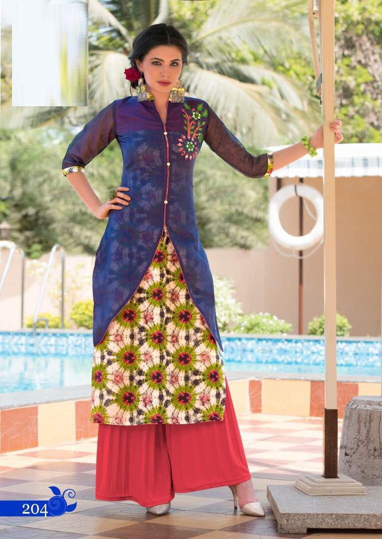Rayon Cotton & Kora Silk Gold Print Kurta | Blue Colour