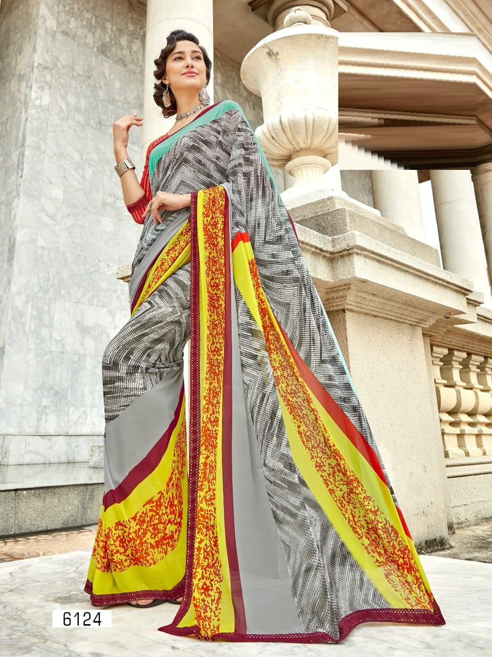 Georgette Printed Casual Saree | Grey Yellow Colour