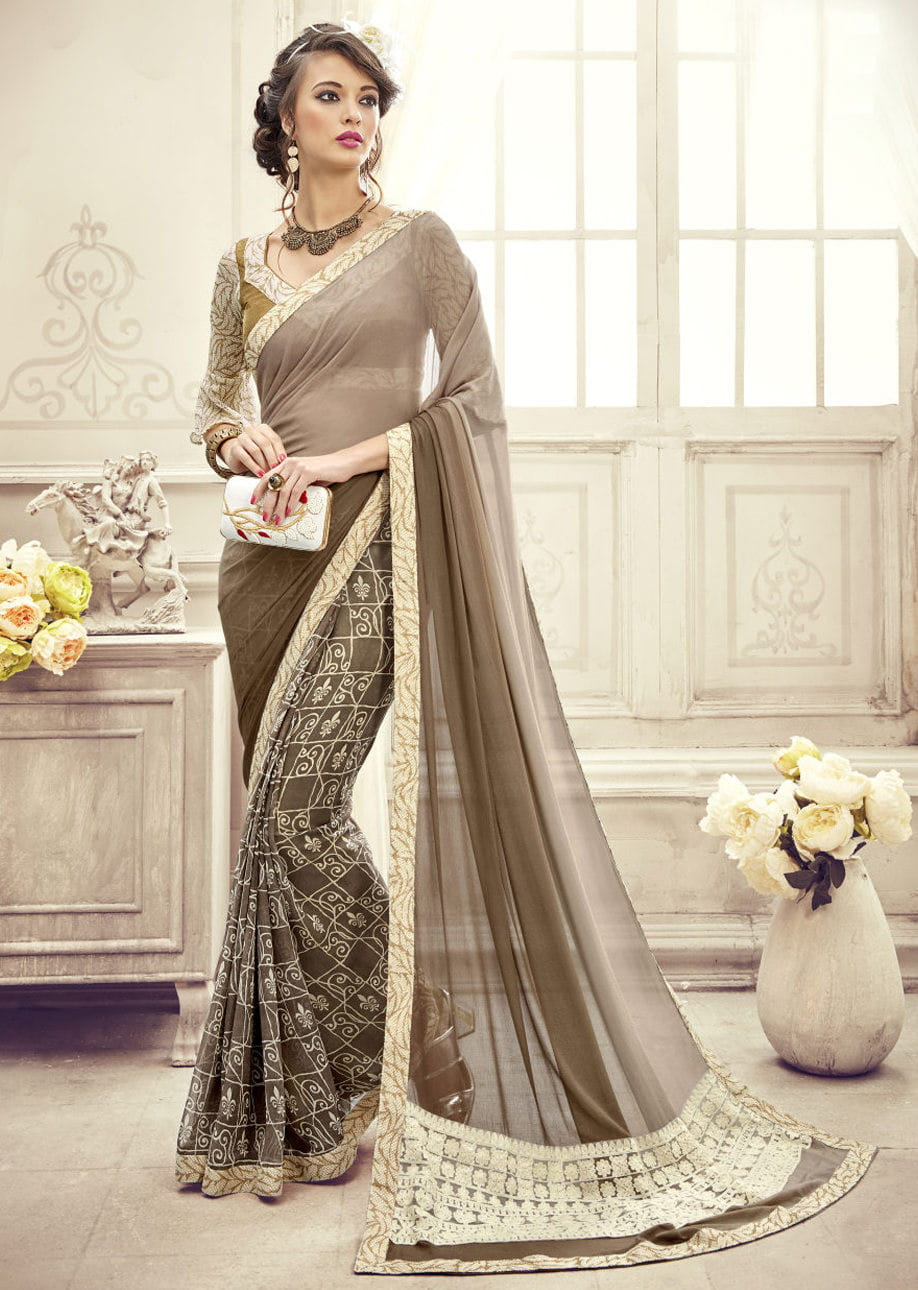 Half & Half Georgette Printed Saree | Gray Colour