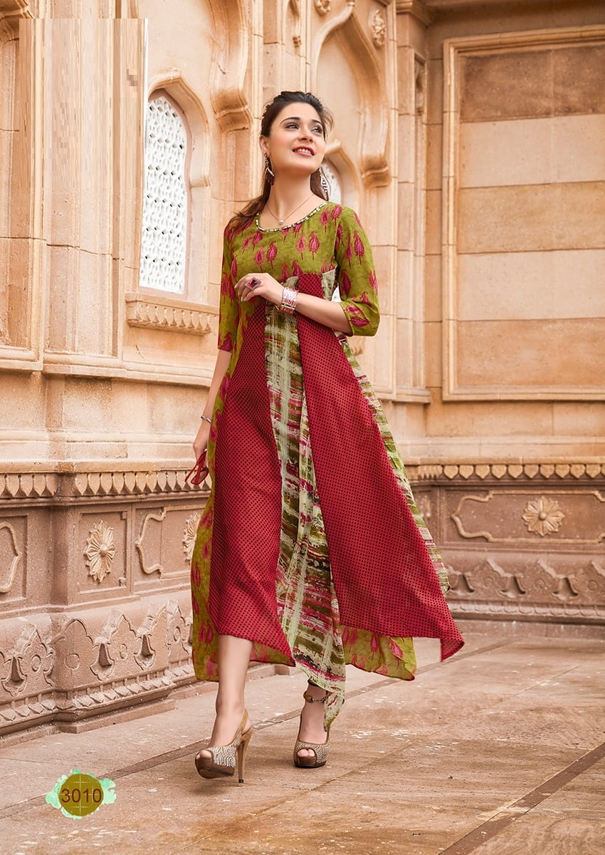 Long Weightless Georgette Kurta L-Szie | Multi Colour