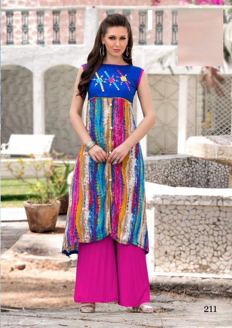 Print & Embroidery Cotton Casual Kurta | Multi Colour