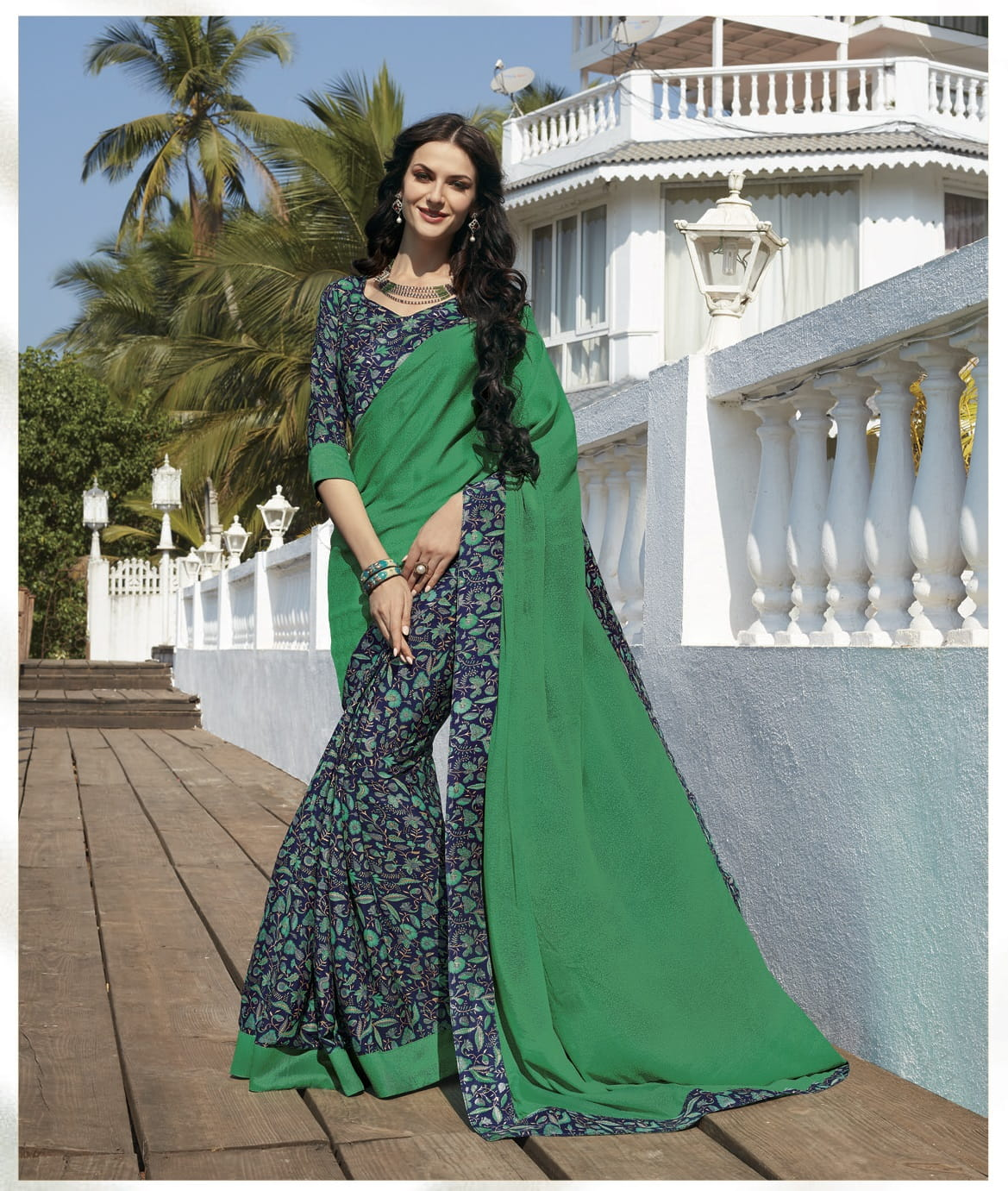Half n Half Printed Crepe Silk Casual Saree | Green