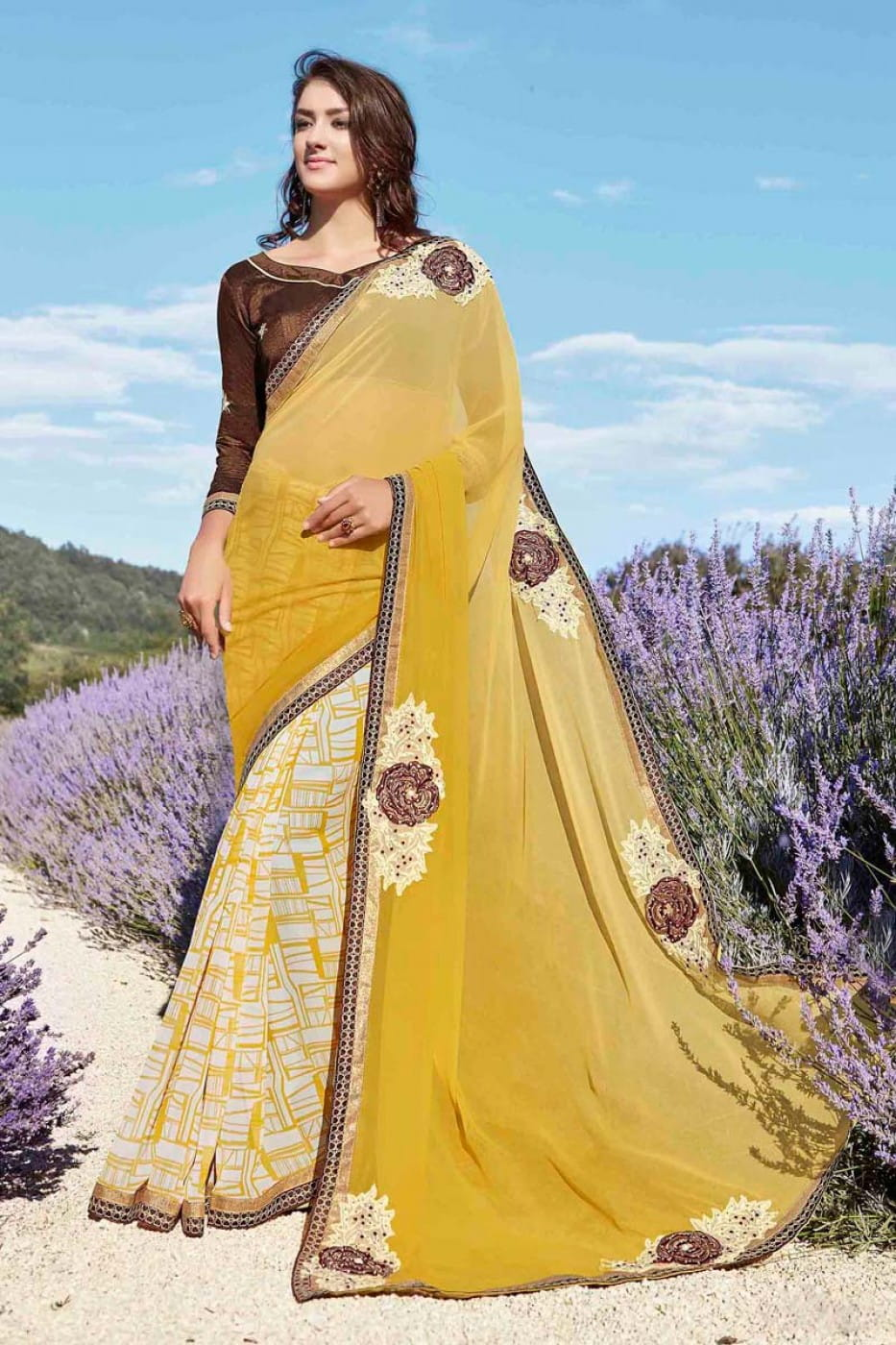 Patch Work Printed Georgette Designer Saree | Yellow Colour