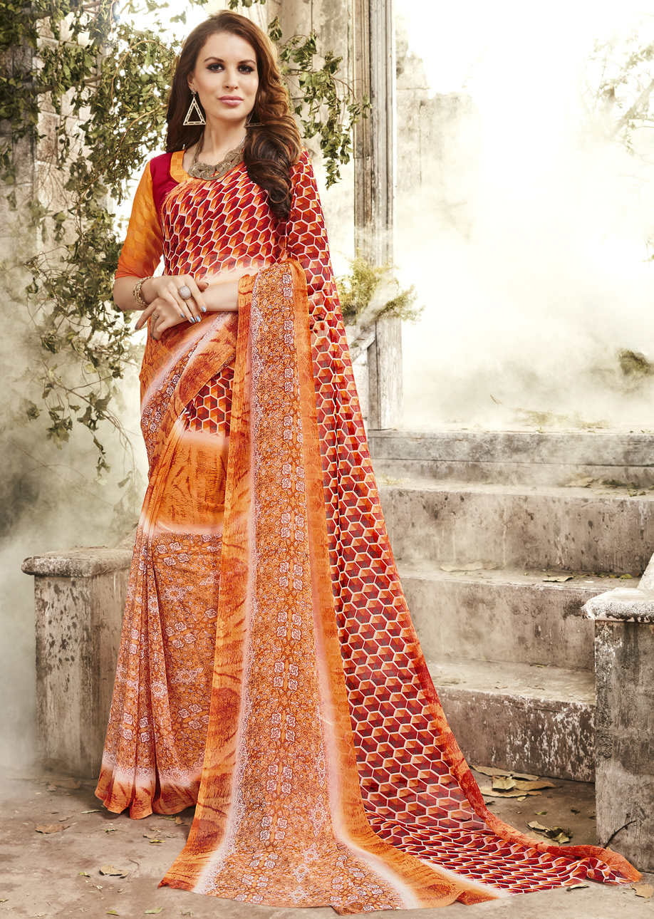 Georgette Printed Everyday Wear Saree | Orange Multi Colour