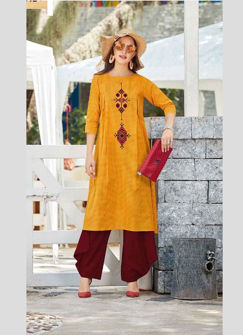 Handloom Cotton Embroidery Long Kurta | Yellow Colour